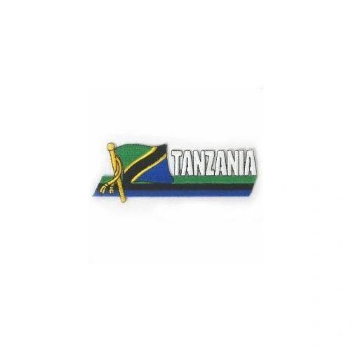 TANZANIA COUNTRY FLAG SIDEKICK WORD IRON ON PATCH CREST BADGE