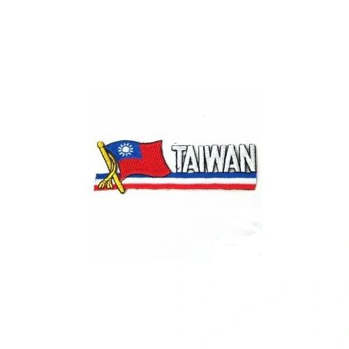 TAIWAN COUNTRY FLAG SIDEKICK WORD IRON ON PATCH CREST BADGE