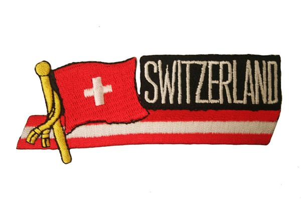 SWITZERLAND COUNTRY FLAG SIDEKICK WORD IRON ON PATCH CREST BADGE