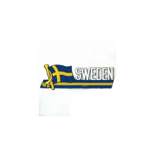 SWEDEN COUNTRY FLAG SIDEKICK WORD IRON ON PATCH CREST BADGE