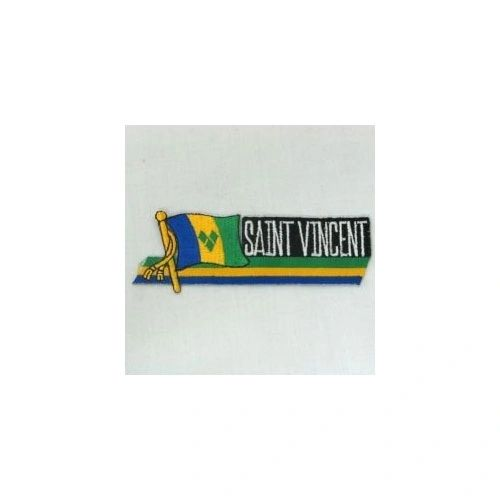 ST. VINCENT COUNTRY FLAG SIDEKICK WORD IRON ON PATCH CREST BADGE