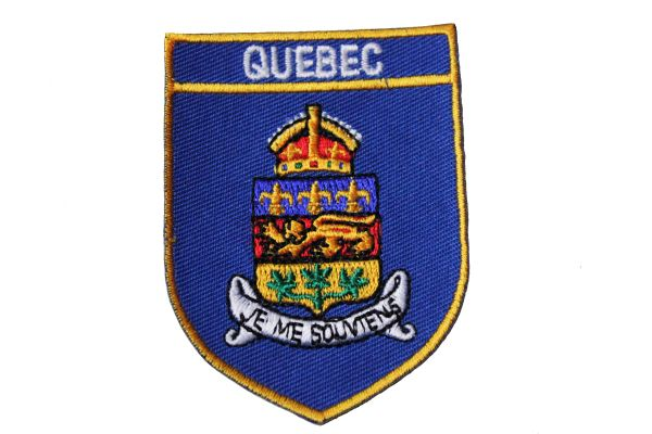 QUEBEC BLUE SHIELD CANADA PROVINCIAL FLAG IRON ON PATCH CREST BADGE