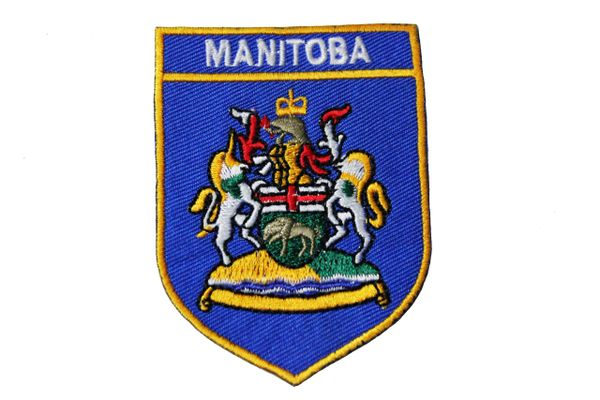 MANITOBA BLUE SHIELD CANADA PROVINCIAL FLAG IRON ON PATCH CREST BADGE