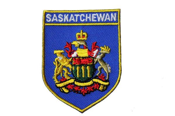 SASKATCHEWAN BLUE SHIELD CANADA PROVINCIAL FLAG IRON ON PATCH CREST BADGE