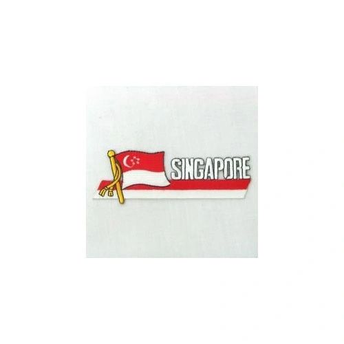 SINGAPORE SIDEKICK WORD COUNTRY FLAG IRON ON PATCH CREST BADGE