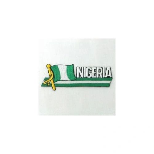 NIGERIA SIDEKICK WORD COUNTRY FLAG IRON ON PATCH CREST BADGE