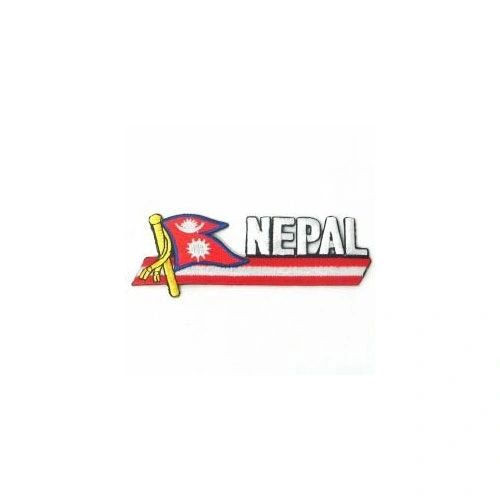 NEPAL SIDEKICK WORD COUNTRY FLAG IRON ON PATCH CREST BADGE