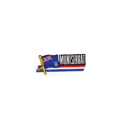 MONTSERRAT SIDEKICK WORD COUNTRY FLAG IRON ON PATCH CREST BADGE