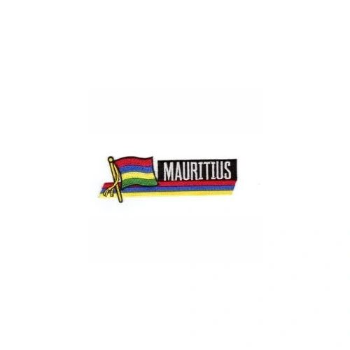 MAURITIUS SIDEKICK WORD COUNTRY FLAG IRON ON PATCH CREST BADGE