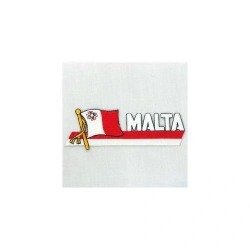 MALTA SIDEKICK WORD COUNTRY FLAG IRON ON PATCH CREST BADGE
