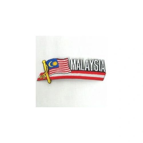 MALAYSIA SIDEKICK WORD COUNTRY FLAG IRON ON PATCH CREST BADGE