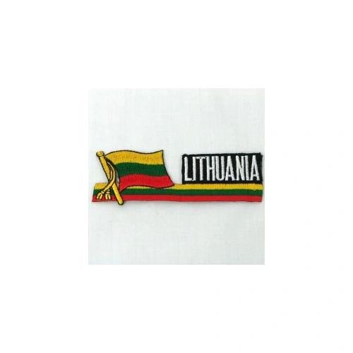 LITHUANIA SIDEKICK WORD COUNTRY FLAG IRON ON PATCH CREST BADGE