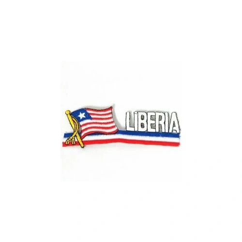 LIBERIA SIDEKICK WORD COUNTRY FLAG IRON ON PATCH CREST BADGE
