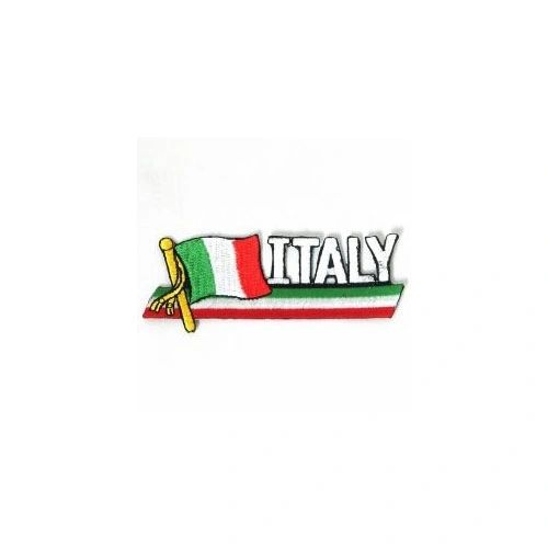 ITALY SIDEKICK WORD COUNTRY FLAG IRON ON PATCH CREST BADGE