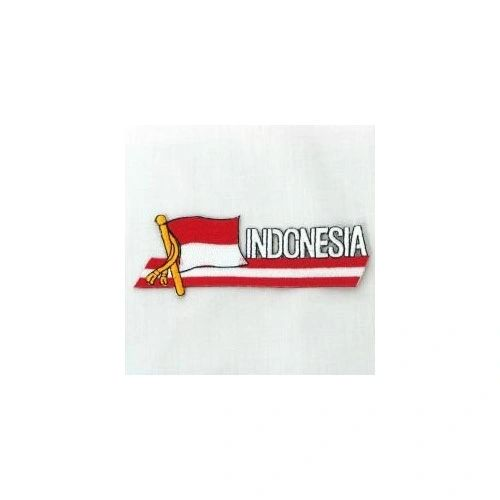 INDONESIA SIDEKICK WORD COUNTRY FLAG IRON ON PATCH CREST BADGE