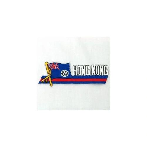 HONG KONG OLD SIDEKICK WORD COUNTRY FLAG IRON ON PATCH CREST BADGE