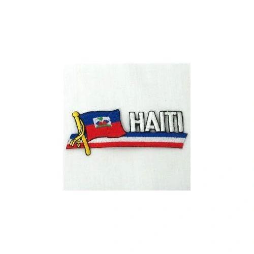 HAITI SIDEKICK WORD COUNTRY FLAG IRON ON PATCH CREST BADGE
