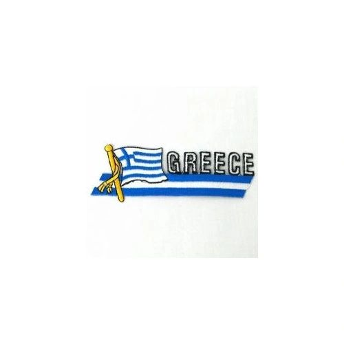 GREECE SIDEKICK WORD COUNTRY FLAG IRON ON PATCH CREST BADGE