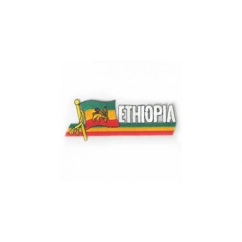 ETHIOPIA LION OF JUDAH SIDEKICK WORD COUNTRY FLAG IRON ON PATCH CREST BADGE