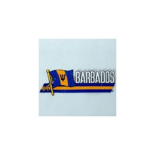 BARBADOS SIDEKICK WORD COUNTRY FLAG IRON ON PATCH CREST BADGE