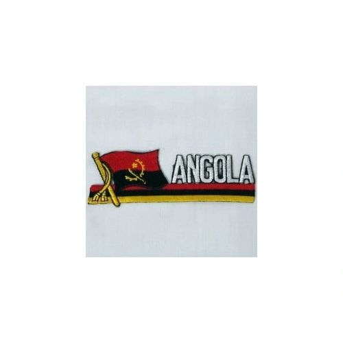 ANGOLA SIDEKICK WORD COUNTRY FLAG IRON ON PATCH CREST BADGE