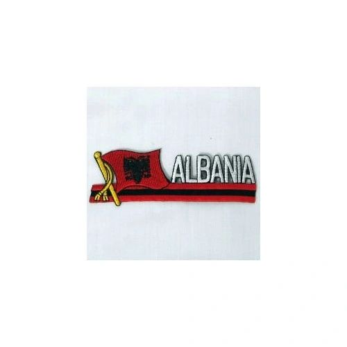 ALBANIA SIDEKICK WORD COUNTRY FLAG IRON ON PATCH CREST BADGE