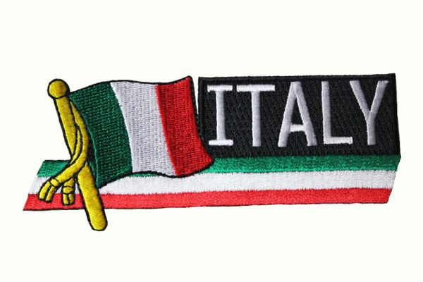 ITALY ITALIA SIDEKICK WORD Country Flag IRON ON PATCH CREST BADGE