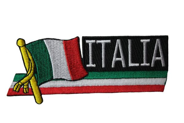ITALIA SIDEKICK WORD Country Flag IRON ON PATCH CREST BADGE