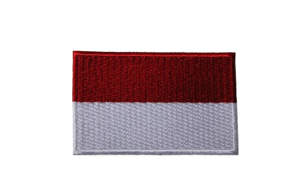 INDONESIA NATIONAL COUNTRY FLAG IRON ON PATCH CREST BADGE ... 1.5 X 2.5 INCHES .. NEW