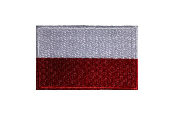 POLAND PLAIN POLSKA NATIONAL COUNTRY FLAG IRON ON PATCH CREST BADGE .. 1.5 X 2.5 INHES .. NEW