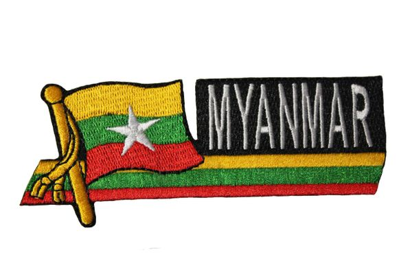 MYANMAR SIDEKICK WORD Country Flag IRON ON PATCH CREST BADGE