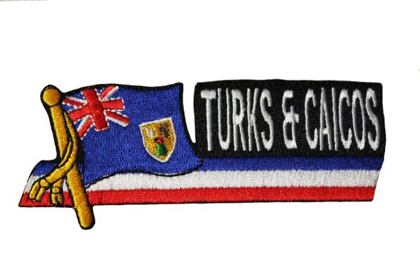 TURKS & CAICOS - FRENCH ISLANDS SIDEKICK WORD Country Flag IRON ON PATCH CREST BADGE