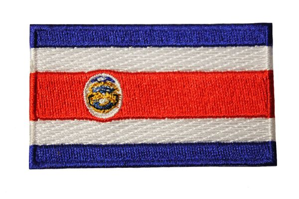 COSTA RICA NATIONAL COUNTRY FLAG IRON ON PATCH CREST BADGE .. 1.5 X 2.5 INCHES .. NEW
