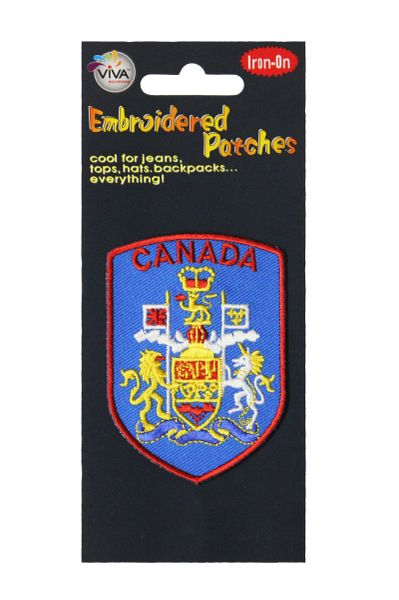 CANADA COAT OF ARMS Blue With Red Border Shield Shape Iron- On PATCH CREST BADGE