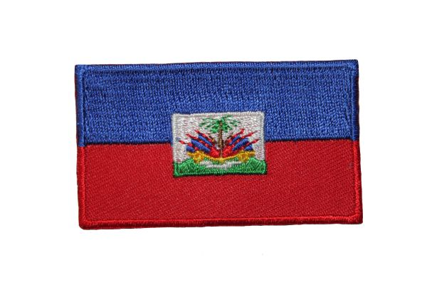 HAITI NATIONAL COUNTRY FLAG IRON ON PATCH CREST BADGE ... 1.5 X 2.5 INCHES .. NEW