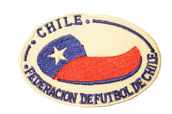 """CHILE FEDERACION DE FUTBOL DE CHILE Country Flag WHITE Background EMBROIDERED Iron On PATCH CREST BADGE .. SIZE : 2.75"""" x 1.9"""" Inchy Flag WHITE Background EMBROIDERED Iron On PATCH CREST BADGE .. SIZE : 2.75"""" x 1.9"""" Inch"""