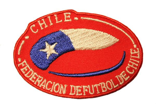 "CHILE FEDERACION DE FUTBOL DE CHILE Country Flag RED Background EMBROIDERED Iron On PATCH CREST BADGE .. SIZE : 2.75"" x 1.9"" Inch"