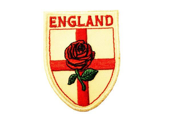 """ENGLAND Country Flag Logo RED ROSE WHITE Background EMBROIDERED Iron On PATCH CREST BADGE .. SIZE : 2"""" x 2.75"""" Inch"""