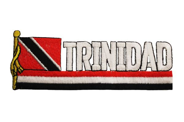 TRINIDAD SIDEKICK WORD COUNTRY FLAG IRON ON PATCH CREST BADGE