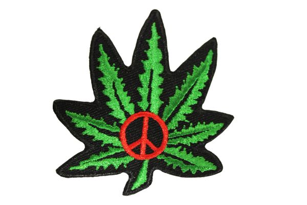 CANNABIS MARIJUANA WEED LEAF GREEN IRON ON PATCH..New