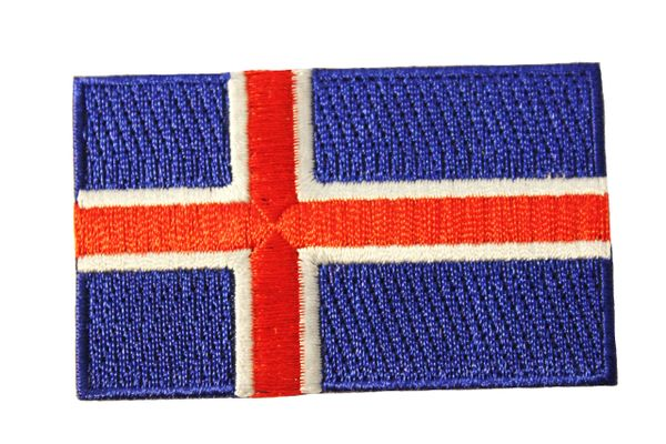 ICELAND NATIONAL COUNTRY FLAG IRON ON PATCH .. 1.5 X 2.5 INCHES . NEW