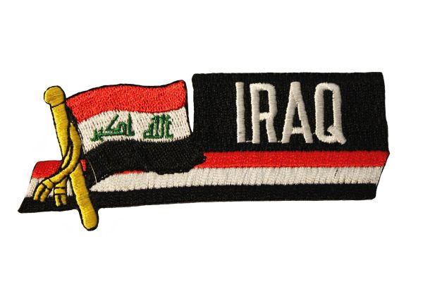 IRAQ SIDEKICK WORD COUNTRY FLAG IRON ON PATCH CREST BADGE