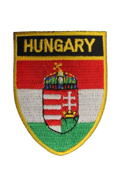 "HUNGARY SHIELD CANADA PROVINCIAL FLAG WITH WORD ""HUNGARY"" IRON ON PATCH CREST BADGE .. NEW"