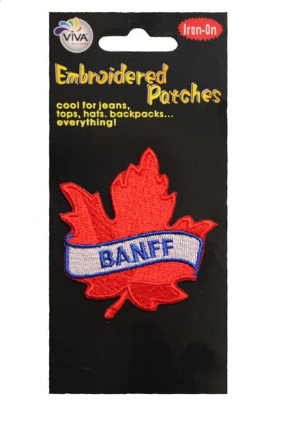 """BANFF RED MAPLE LEAF EMBROIDERED IRON ON PATCH CREST BADGE .. SIZE : 2 1/2"""" x 2 1/2"""" INCHES"""