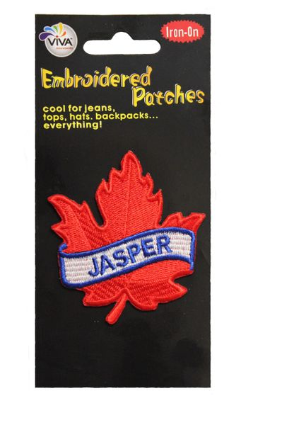 "JASPER RED MAPLE LEAF EMBROIDERED IRON ON PATCH CREST BADGE .. SIZE : 2 1/2"" x 2 1/2"" INCHES"