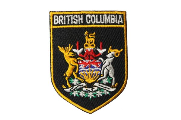 BLACK - BRITISH COLUMBIA CANADA PROVINCIAL FLAG IRON ON PATCH CREST BADGE .. 1.5 X 2.5 INCHES .. NEW