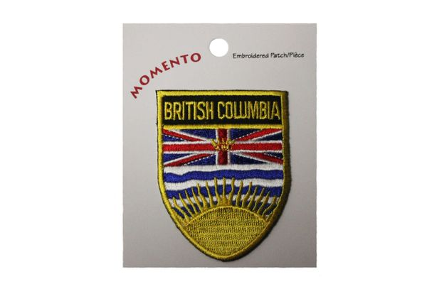 """British Columbia Canada Provincial Flag Shield with Gold Trim 1 7/8"""" x 2 1/4"""" Inch Embroidered Iron on Patch Crest Badge. New"""