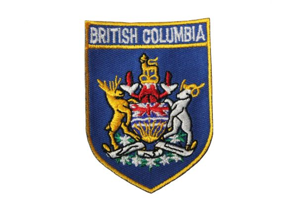 "Embroidery Patch British Columbia BC COA Shield Crest Sew On Canada 2 1/16""x2 3/4"""