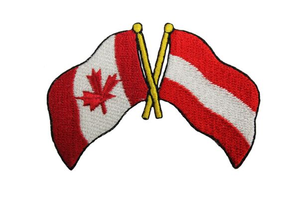 Canada & Austria Friendship Country Flags Embroidered Iron on Patch Crest Badge