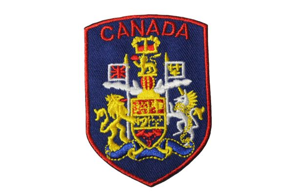Canada Country Flag Blue Shield Shape with Red Trim Iron - On Patch Crest Badge